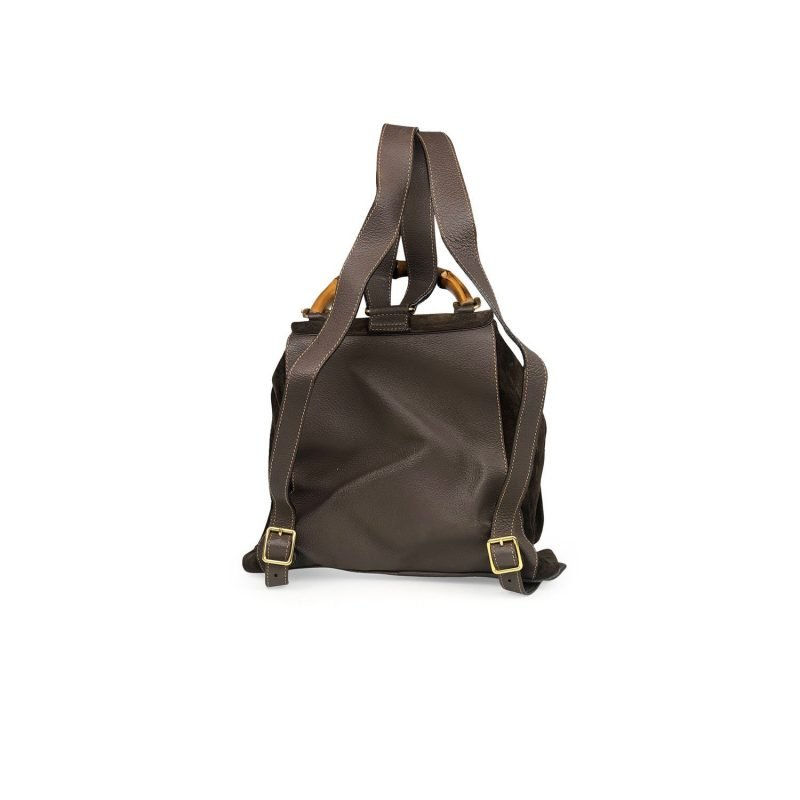 Brown suede vintage Gucci Bamboo backpack