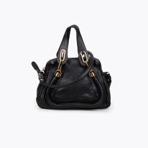 Black grained leather Chloé Small Paraty