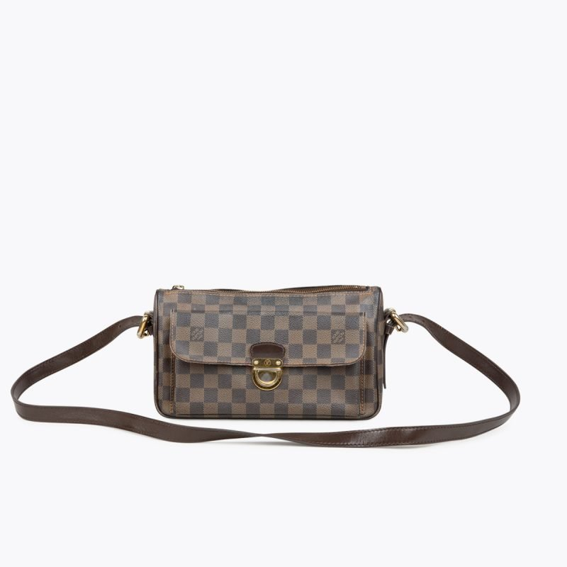 Brown and tobacco Damier Ebene coated canvas LOUIS VUITTON Ravello GM