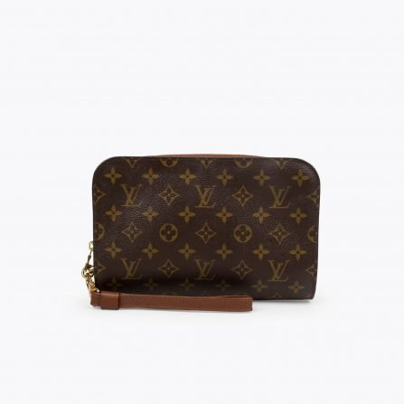 Brown and tan monogram coated canvas LOUIS VUITTON Pochette Orsay Clutch