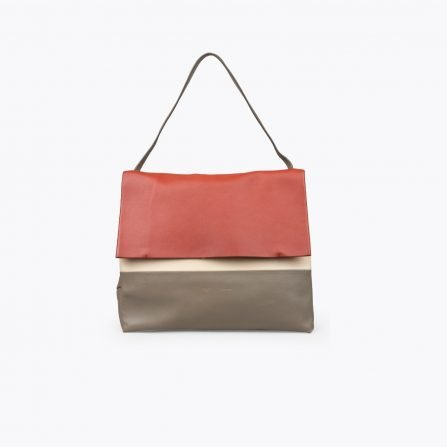 Red, tan and brown calfskin pre-owned CÉLINE All Soft Tote