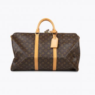 Brown and tan monogram coated canvas LOUIS VUITTON Keepall Monogram 50